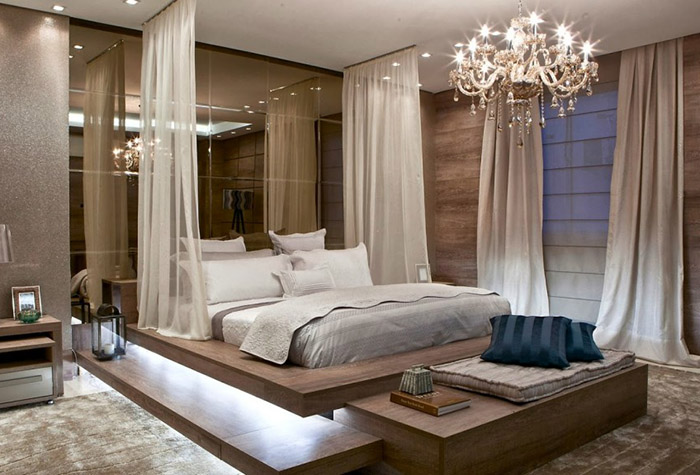 Балдахин над кроватью в современном интерьере