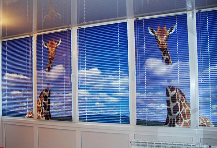Фотопечать на горизонтальных жалюзи - жирафы
