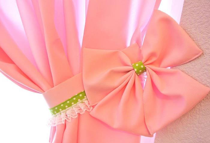 Подхват для шторы - розовый бант