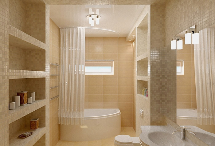 Полукруглый карниз в ванной