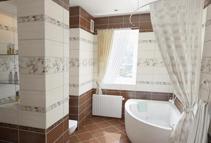 Нестандартная ванна с полукруглым карнизом