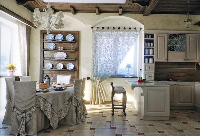 Шторы на одну сторону в кухне в стиле кантри