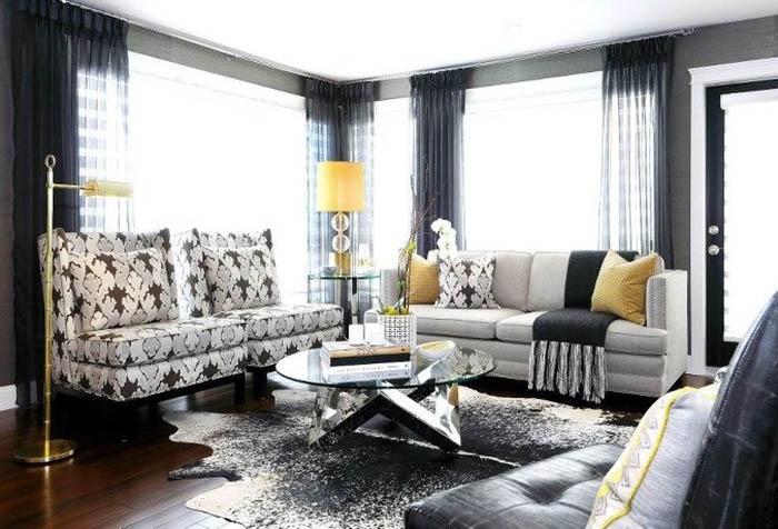 Стильные серые шторы в гостиной