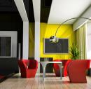 Дизайн-проект интерьера с желтой стеной