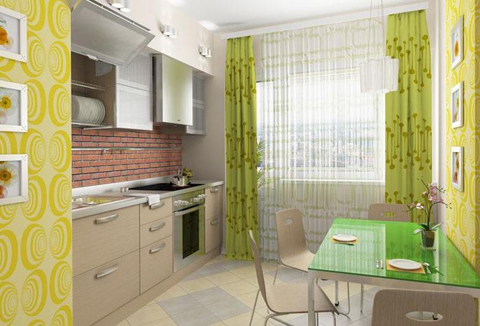Желтые обои и зеленые шторы на кухне