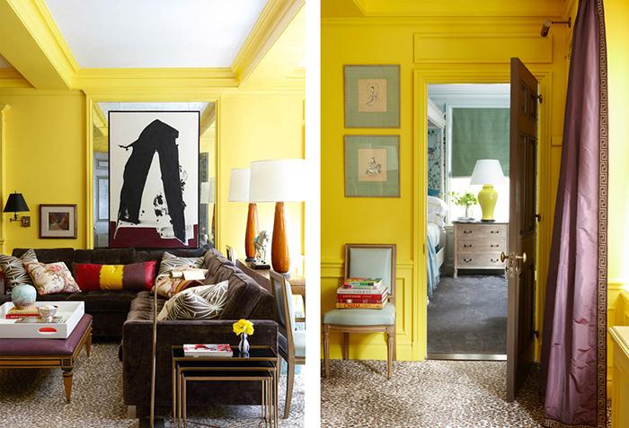 Фиолетовая портьера с желтыми стенами