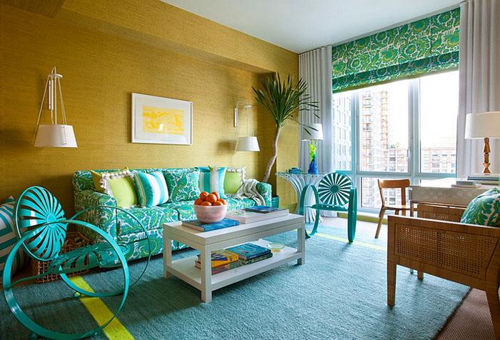 Необычный дизайн гостиной с римской шторой