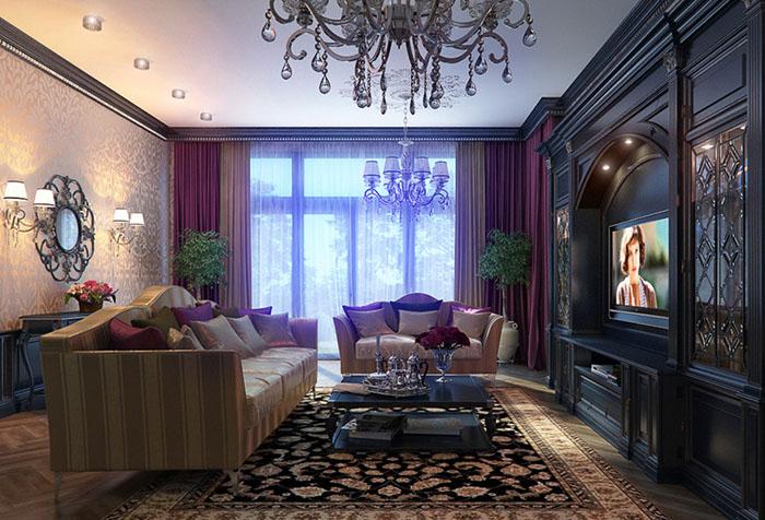 Лиловые портьеры в неоклассическом интерьере гостиной
