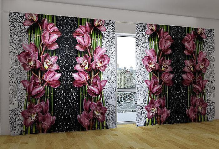 Шторы с эффектом 3D с цветочным принтом