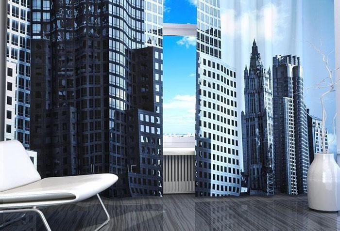 Изображение небоскребов на шторах