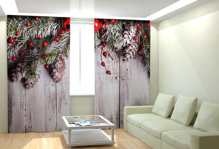 Новогодний принт на 3D шторах в гостиной