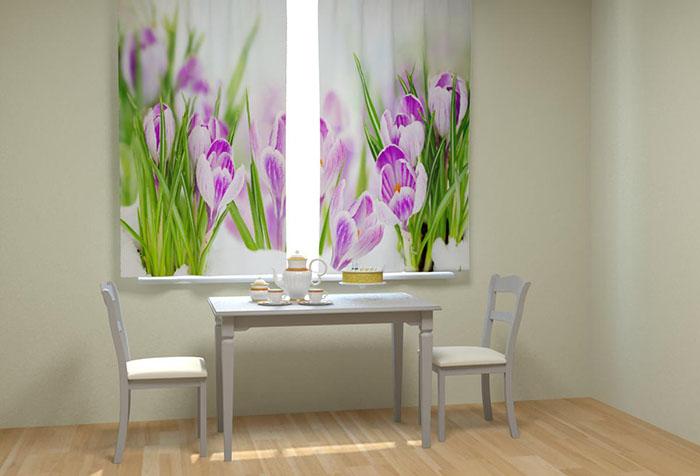 Шторы с 3D изображением на кухне