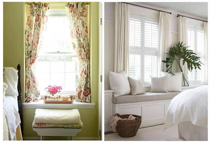 Разные модели коротких штор в спальню