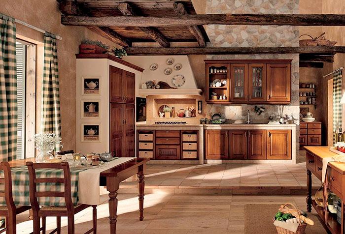 Кухня в стиле кантри с клетчатыми шторами