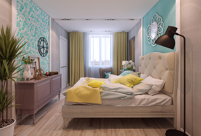 Шторы горчичного цвета в спальне