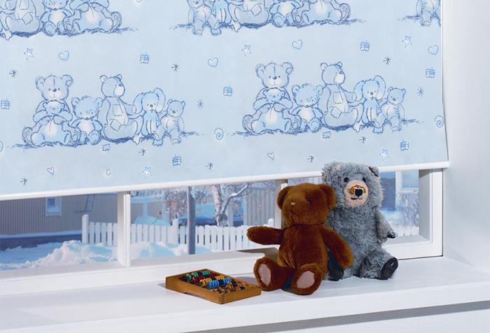 Рулонная штора с мишками для детской