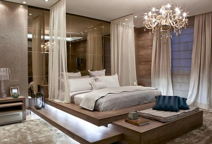 Необычный балдахин в современной спальне