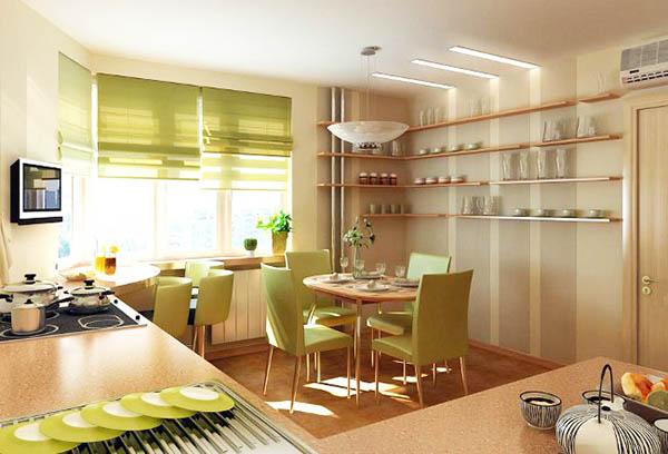 Цветовая гармония римских штор в интерьере кухни